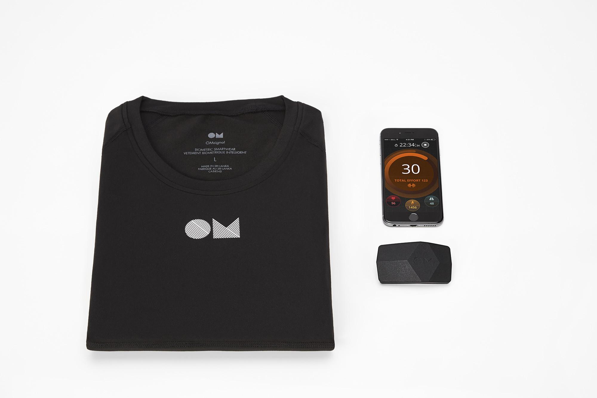OMSignal Smart Kit - application mobile OM - Boîtier OM - Tee-shirt OM